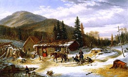 Bringing in the Deer, c.1859 by Cornelius Krieghoff | Painting Reproduction