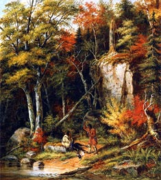 Indian Hunters on the St. Maurice River, 1860 by Cornelius Krieghoff | Painting Reproduction