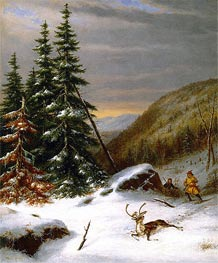 Indians Hunting a Caribou, c.1860 by Cornelius Krieghoff | Painting Reproduction