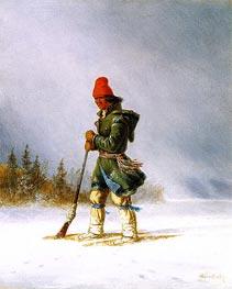 Hunter Resting Gun on a Showshoe | Cornelius Krieghoff | Painting Reproduction