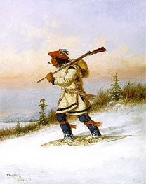 Indian Trapper on Snowshoes, 1858 by Cornelius Krieghoff | Painting Reproduction