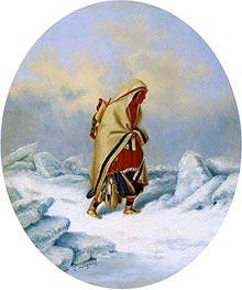 Indian Woman, Moccasin Seller | Cornelius Krieghoff | Gemälde Reproduktion