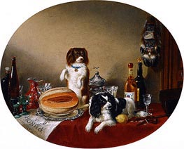 The Pets and the Materials, 1860 by Cornelius Krieghoff   Painting Reproduction