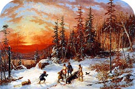 Death of the Moose at Sunset, Lake Famine South of Quebec, 1859 by Cornelius Krieghoff | Painting Reproduction