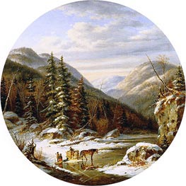 Early Winter on the St. Anne's, below Quebec, 1863 by Cornelius Krieghoff | Painting Reproduction