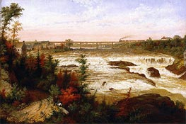 The Tubular Bridge at St. Henry'a Falls, 1858 by Cornelius Krieghoff | Painting Reproduction