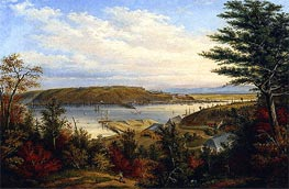 View of Quebec from the Grand Trunk Railway Station at Pointe-Lévis, 1856 by Cornelius Krieghoff | Painting Reproduction