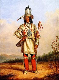 Chief Tanaghte, Delegate to Lord Elgin at Montreal, c.1849 by Cornelius Krieghoff | Painting Reproduction