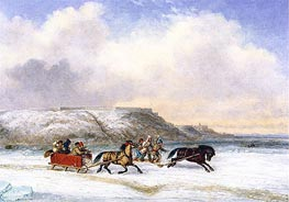Sleigh Race on the St. Lawrence at Quebec, 1852 by Cornelius Krieghoff | Painting Reproduction