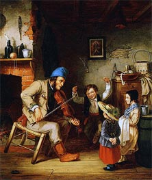 Fiddler and Boy Doing Jig, 1852 by Cornelius Krieghoff | Painting Reproduction