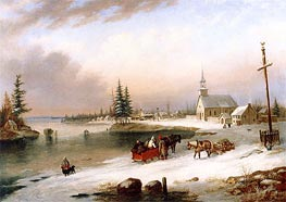 Village Scene in Winter, 1850 by Cornelius Krieghoff | Painting Reproduction