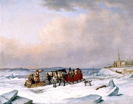 The Ice Bridge at Longue-Pointe, c.1848 by Cornelius Krieghoff | Painting Reproduction