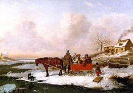 Habitant Sleigh, View near the Canada Line, c.1847 by Cornelius Krieghoff | Painting Reproduction