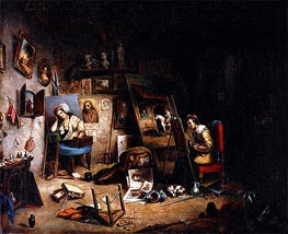 The Artist's Studio, c.1845 by Cornelius Krieghoff | Painting Reproduction