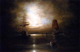 Marine View - Moonlight, c.1845 by Cornelius Krieghoff | Painting Reproduction