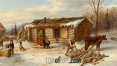 Habitant Homestead in Winter, c.1860 | Cornelius Krieghoff| Painting Reproduction