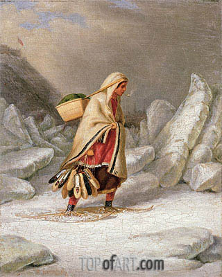 An Indian Woman Wearing Snowshoes,  | Cornelius Krieghoff | Painting Reproduction