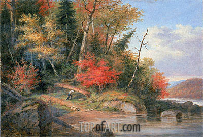 Carrying a Canoe to the River, St. Maurice,  | Cornelius Krieghoff| Painting Reproduction