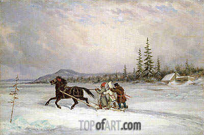 Habitants Sleighing, c.1855 | Cornelius Krieghoff| Painting Reproduction