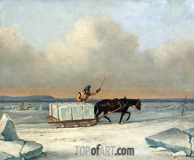 The Ice Cutters on the St. Lawrence at Longueuil, 1850 | Cornelius Krieghoff | Painting Reproduction