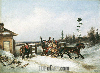 Running the Toll Gate, 1857 | Cornelius Krieghoff | Gemälde Reproduktion