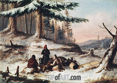 Moose Hunters,  | Cornelius Krieghoff | Painting Reproduction