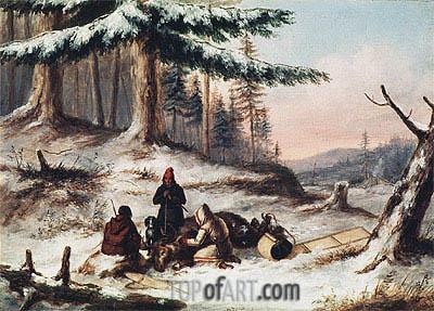 Moose Hunters, Undated | Cornelius Krieghoff | Painting Reproduction