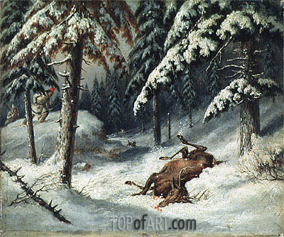 Cerf Mort,  | Cornelius Krieghoff | Painting Reproduction