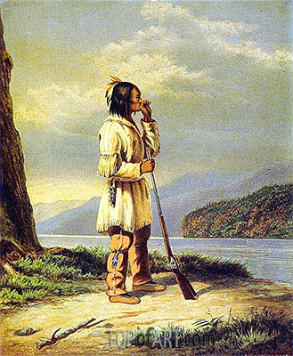 Calling Moose, 'Huron' Indian, c.1868 | Cornelius Krieghoff| Painting Reproduction
