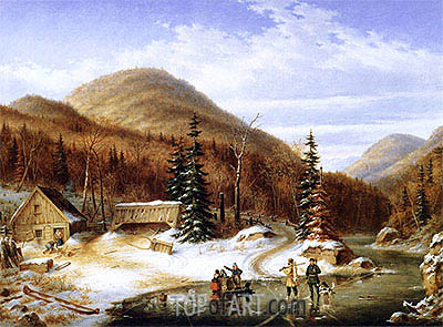 Winter Scene in the Laurentians - The Laval River, 1867 | Cornelius Krieghoff| Painting Reproduction