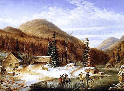 Cornelius Krieghoff | Winter Scene in the Laurentians - The Laval River, 1867