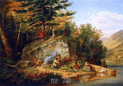 Chippewa Indians at Lake Huron, 1864 | Cornelius Krieghoff| Painting Reproduction