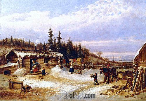 Cornelius Krieghoff | Log Hut on the St. Maurice, 1862