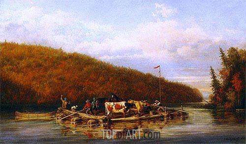 Cornelius Krieghoff | Crossing Cattle for Lumbering Purposes, 1862