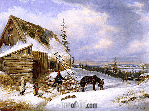 Log Cabin, Winter Scene, Lake St. Charles, c.1862 | Cornelius Krieghoff | Painting Reproduction