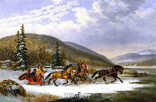 Sleigh Race across the Ice, 1861 | Cornelius Krieghoff| Painting Reproduction