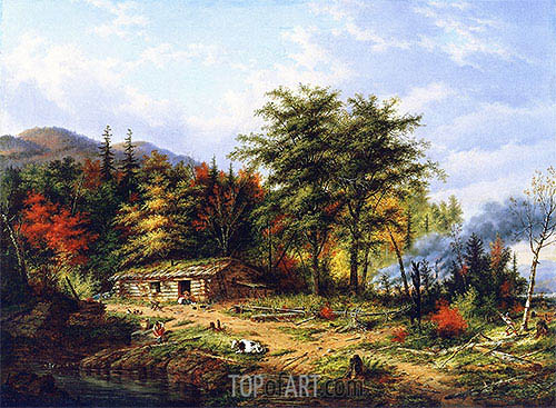 Clearing Land near the St. Maurice River, 1860 | Cornelius Krieghoff | Painting Reproduction