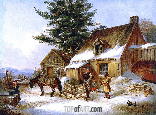 Bargaining for a Load of Wood, 1860 | Cornelius Krieghoff | Painting Reproduction