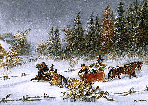 A Winter Incident, c.1860 | Cornelius Krieghoff | Gemälde Reproduktion