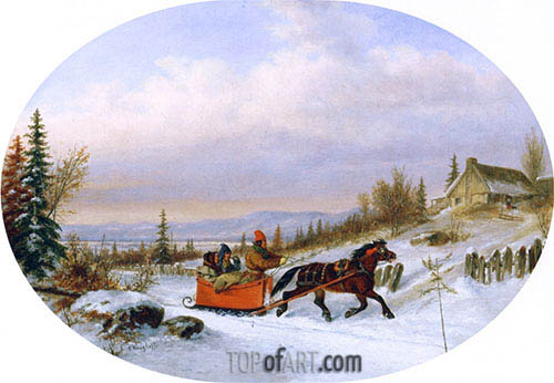 Cornelius Krieghoff | Habitants Returning from Town, c.1860