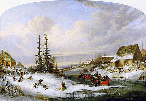 Cornelius Krieghoff | Playtime, Village School, c.1857