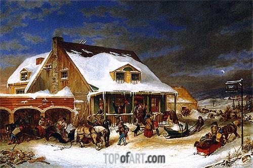 Cornelius Krieghoff | After the Ball, Chez Jolifou, 1856