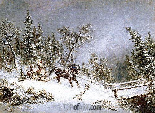 Winter Scene, Blizzard, 1856 | Cornelius Krieghoff| Painting Reproduction