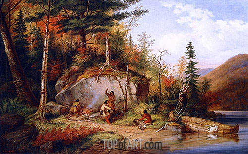 Canadian Autumn, View on the Road to Lake St. John, 1862 | Cornelius Krieghoff | Painting Reproduction