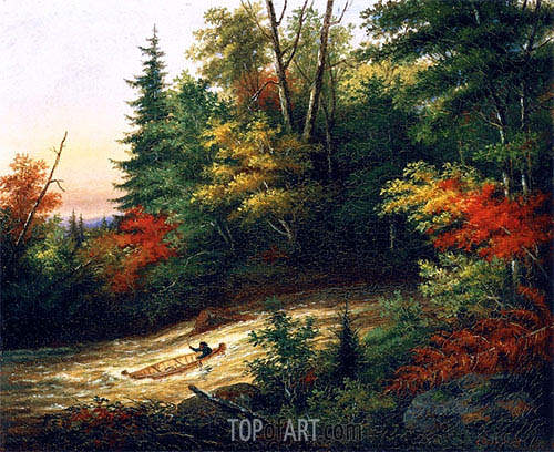 Shooting the Rapids, 1861 | Cornelius Krieghoff | Painting Reproduction