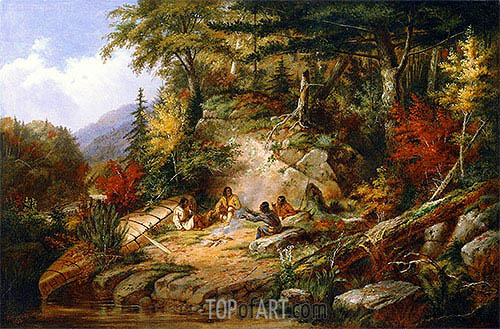 Chippewas on Lake Superior, 1860 | Cornelius Krieghoff | Painting Reproduction