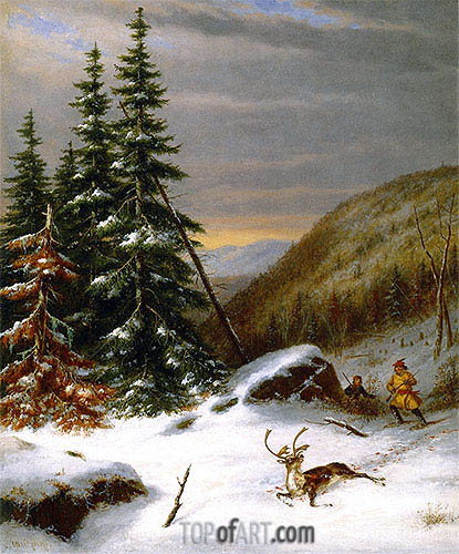 Indians Hunting a Caribou, c.1860 | Cornelius Krieghoff | Painting Reproduction