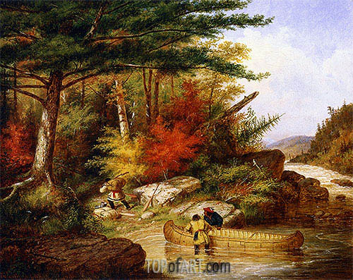 Indians in the Employ of the Hudson's Bay Company at a Portage, 1858 | Cornelius Krieghoff| Painting Reproduction