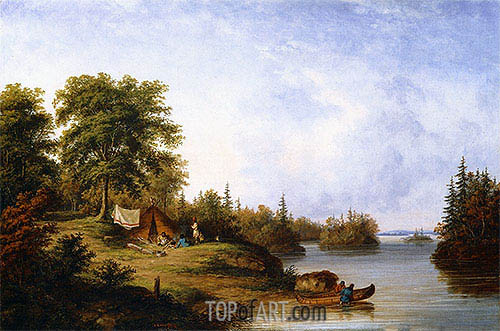 In the Thousand Islands, c.1858 | Cornelius Krieghoff | Painting Reproduction