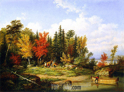 The Indian Campsite, 1857 | Cornelius Krieghoff| Painting Reproduction